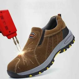 US Stock Men Steel Toe Safety Shoes Work Boots Breathable as