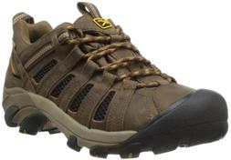 KEEN Men's Voyageur Trail Shoe, Black Olive/ Inca Gold,17 M