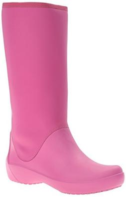 crocs Women's Rain Floe Tall Boot, Berry, 6 M US