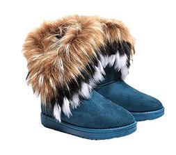 Naughtyangel Women Winter Warm Snow Ankle Boots Low Heels Fa